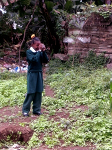 A student in standard seven shooting her picture.