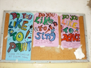 The posters Alia made to advertise our after-school activities.